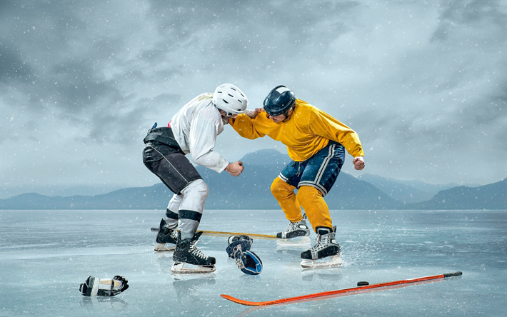 Download wallpapers hockey, winter sports, ice, winter, hockey players, hockey concepts