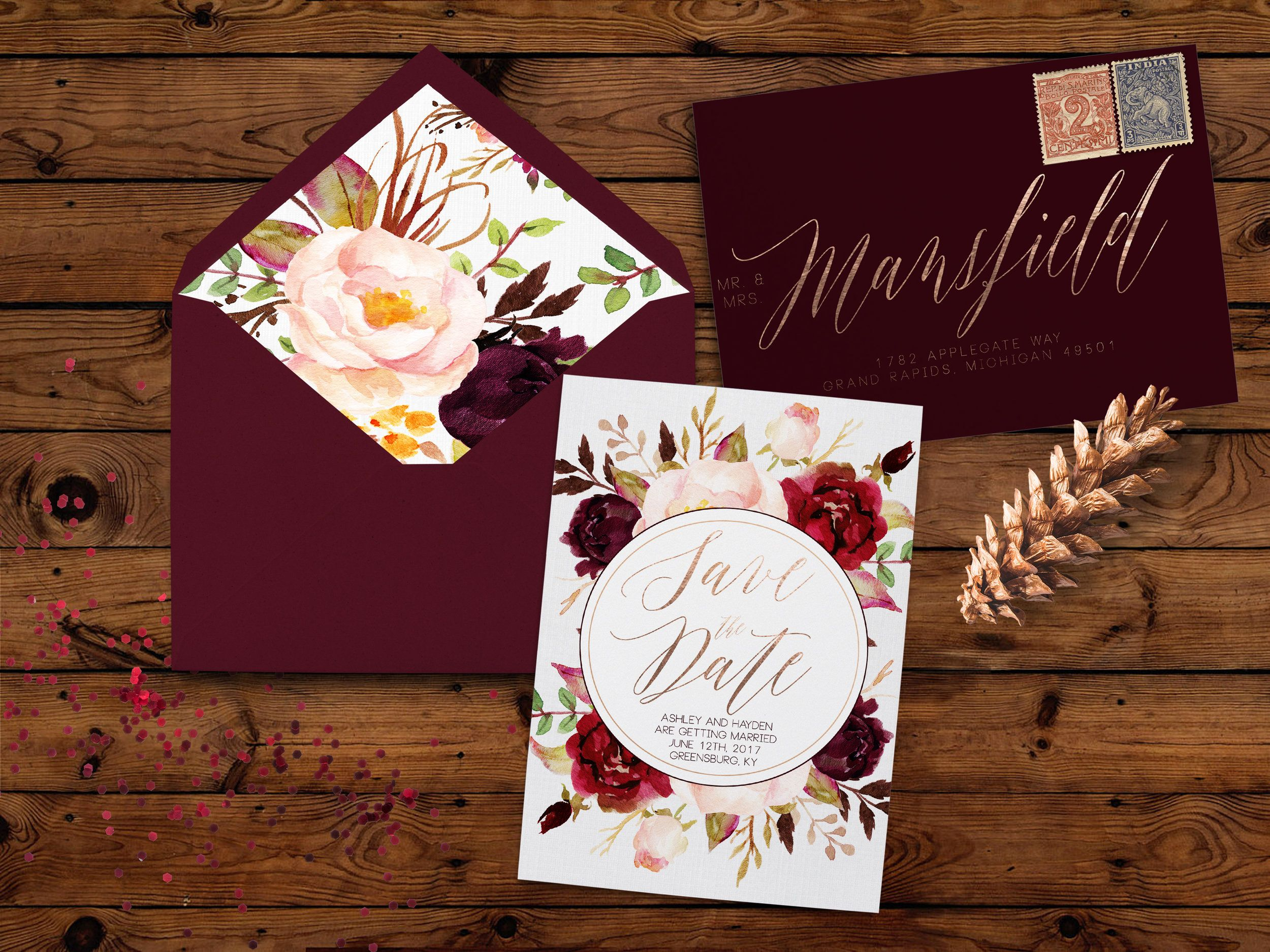 what to include in diy wedding invitations%0A Marsala save the dates and wedding invitation suite  Lined envelopes
