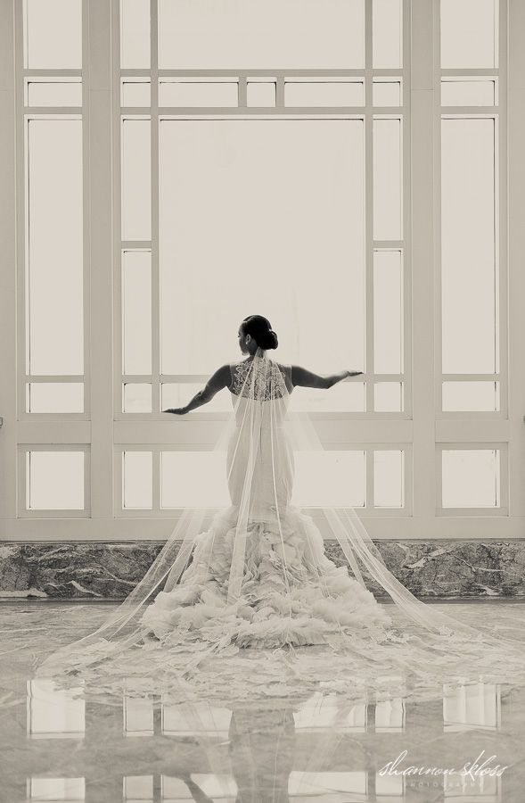 This is why you do a cathedral veil! Stunning drama!!!   www.shannonsklossphotography.com - Shannon Skloss Photography - Dallas & Destination Wedding Photographer Vera Wang Lark