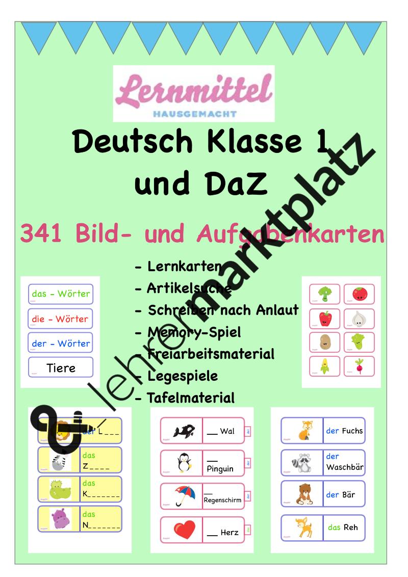 Deutsch Klasse 1/2 und DaZ - 341 Bild- und Aufgabenkarten - Spiele ...
