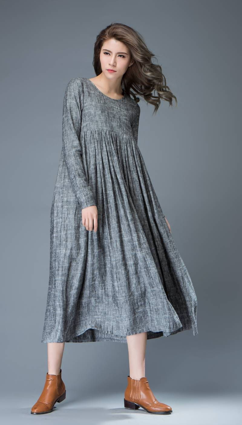 Maxi linen dress comfortable linen loosefitting long
