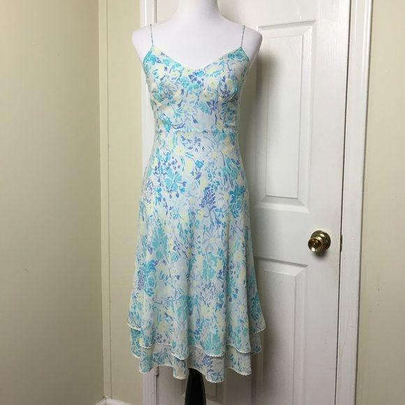 Ann Taylor Silk Dress 100 With Spaghetti Straps Fl Print