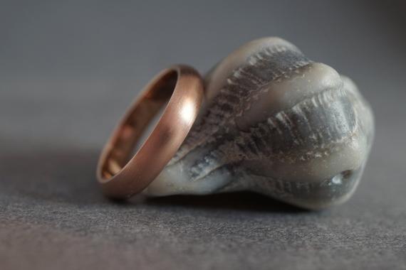 Mens rose gold wedding band - Brushed rose gold wedding band - Rose gold ring 4mm brushed - Rose gold ring brushed 14k 4mm - 14k rose gold