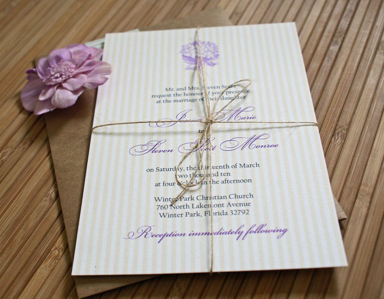 Purple hydrangea wedding invitation sample - Purple Reserved Vintage Lavender Purple And Yellow Hydrangea Wedding Invitations