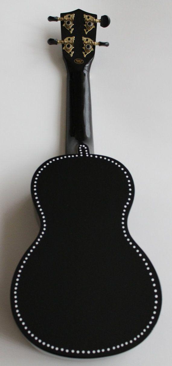 Hand Painted Black Mahalo Soprano Ukulele With White Detail By Ukuleeshee 75 00 Cdn On Etsy Black Acoustic Guitar Ukulele Music Ukulele