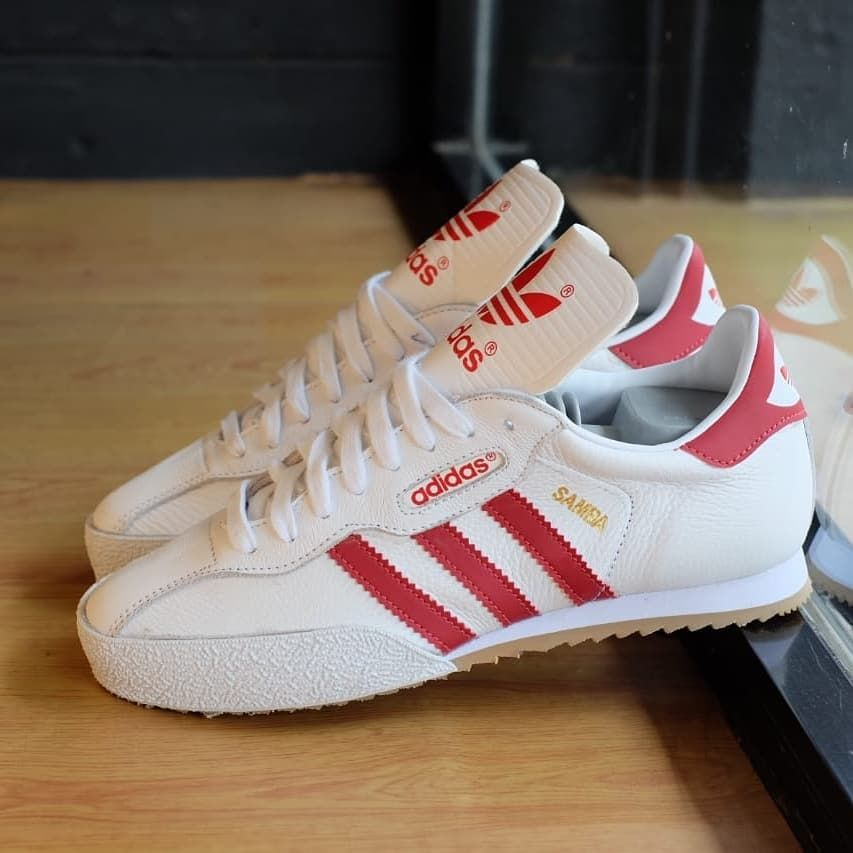 "59010a248124 SEPATU SNEAKERS ORIGINAL on Instagram  ""Adidas Samba Super Leather White  Red Size 40-44 Kondisi BNWB 100% Original Made in indonesia Harga Normal  1.800.000 ..."