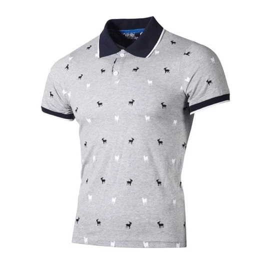 Brand New Mens Polo Shirts Casual Stand Collar Printed Cotton Short Sleeve Male