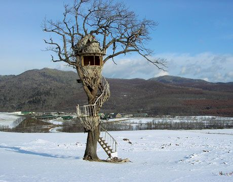 Driftwood Egg Treehouse Another unique Taka creation is the Driftwood Egg Treehouse, which he created for a Nescafe commercial on the northern Japanese island of Hokkaido. The small perch was constructed from driftwood sourced from the region. Pete Nelson/New Treehouses of the World