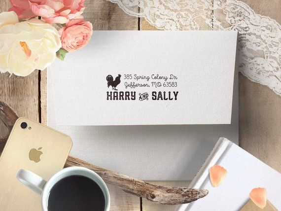 Return address stamp rooster  housewarming couples self ink rubber also rh pinterest