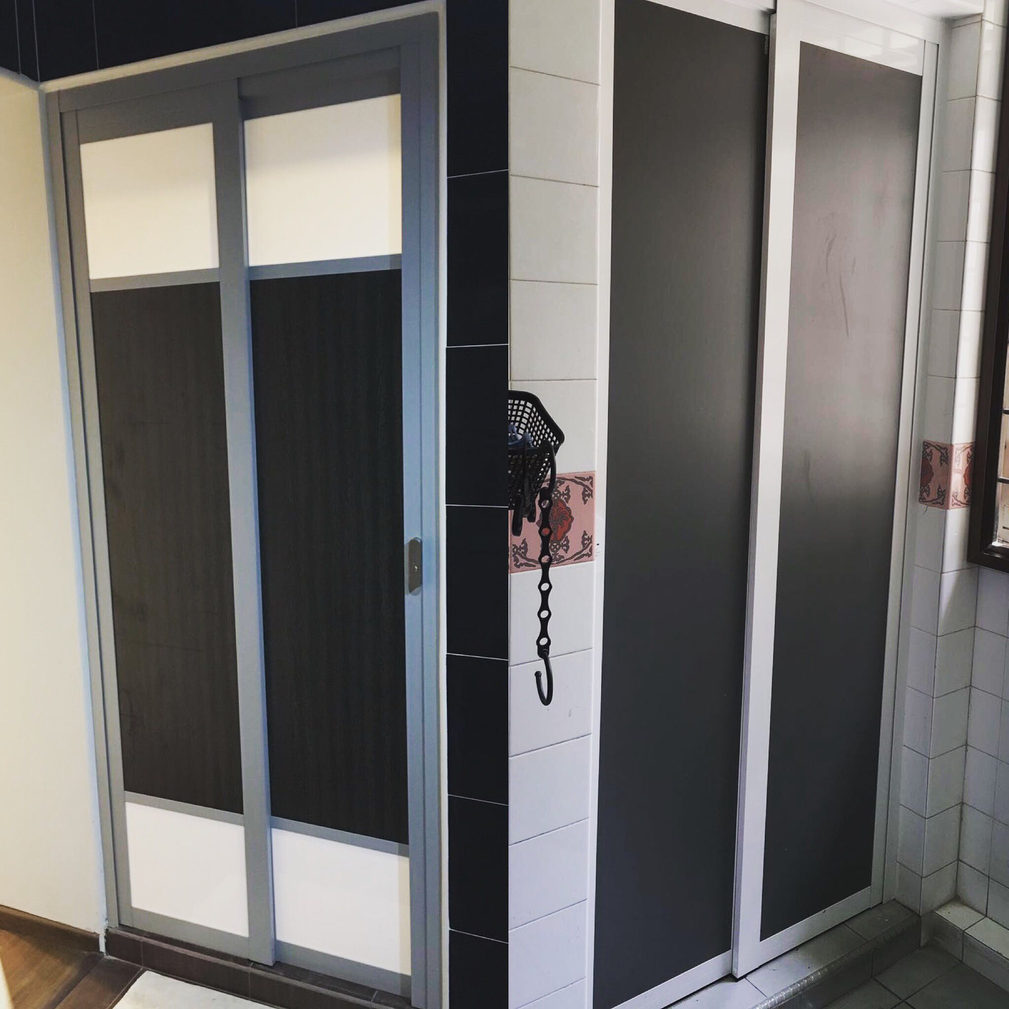 Different Door Designs slide and swing toilet door with modern design, save space and