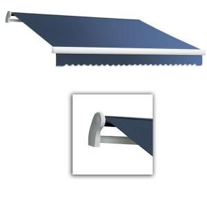 14 Ft Maui Lx Left Motor Retractable Acrylic Awning With Remote 120 In Projection In Dusty Blue Retractable Awning Awning Retractable
