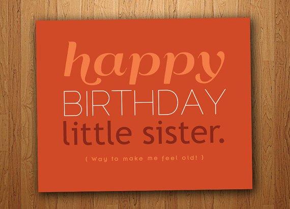 Little Sister Funny Birthday Card Printable