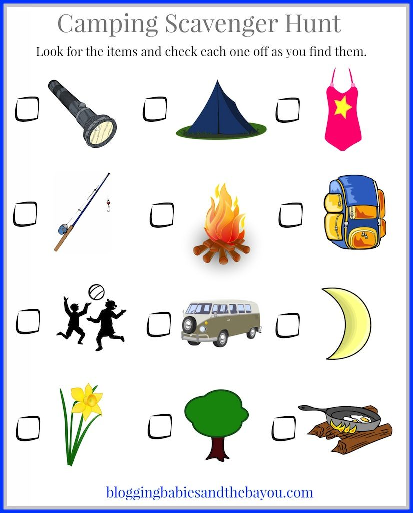 Family Fun Campground Activities Camping Scavenger Hunt Printable