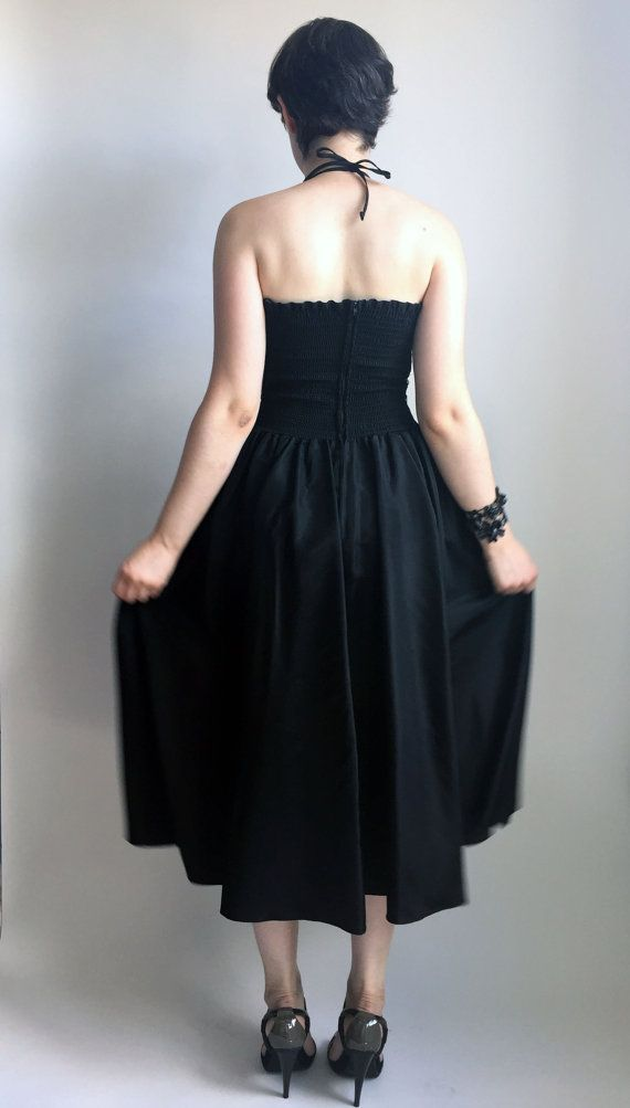 80s Clothing Black Dress 80s Holiday Dress Glam Goth Dress Black