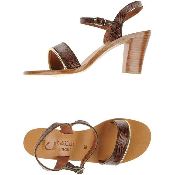 K. Jacques St. Tropez Sandals ($165) ❤ liked on Polyvore featuring shoes, sandals, cocoa, leather ankle strap shoes, ankle tie sandals, ankle wrap shoes, leather shoes and round toe shoes