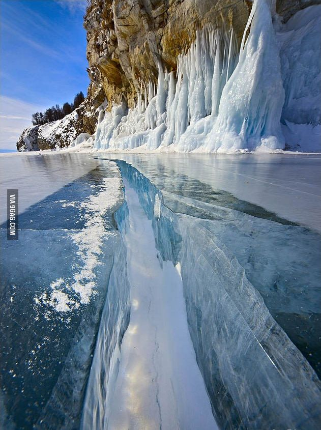 Crack in the ice - 9GAG