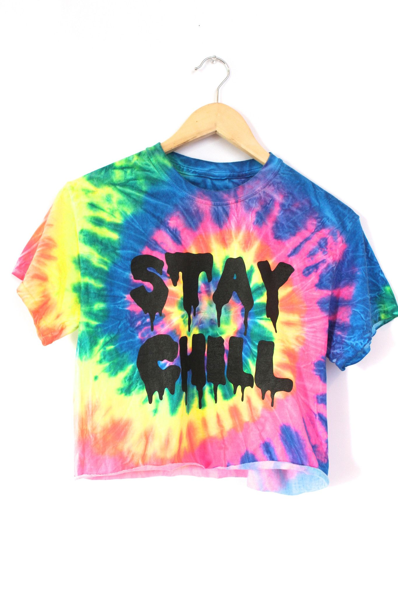 STAY CHILL Neon Rainbow Tie-Dye Graphic Crop Top in 2019  54186d3ef1c