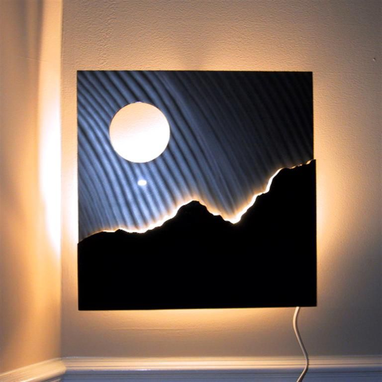 Lighted Modern Metal Wall Art Sculpture