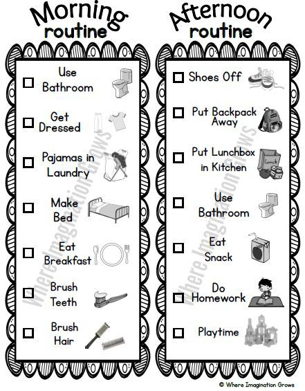 Before and After School Visual Routines for Kids Routine printable