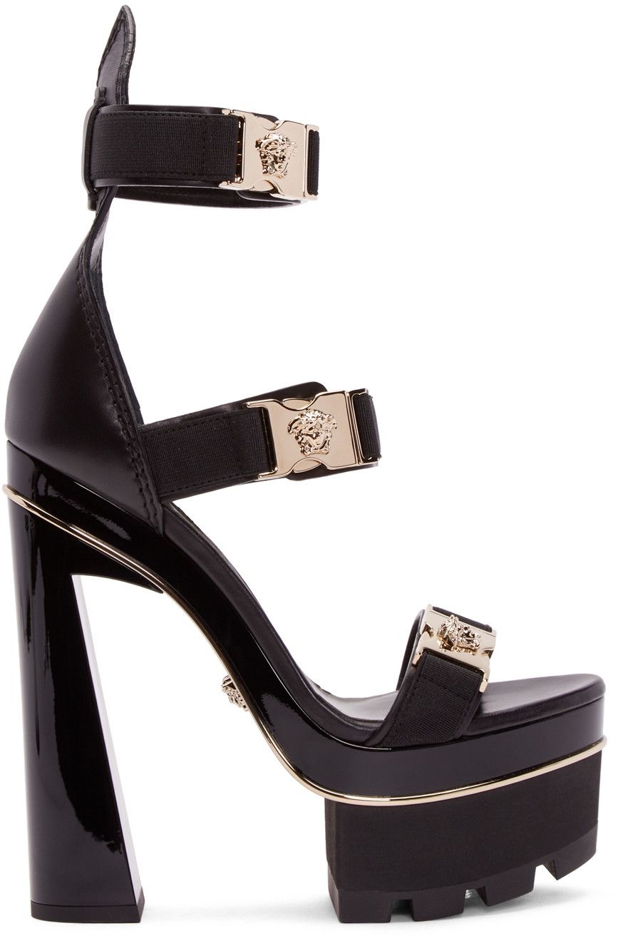 669aa018d35 VERSACE 140Mm Logo Buckles Leather Sandals
