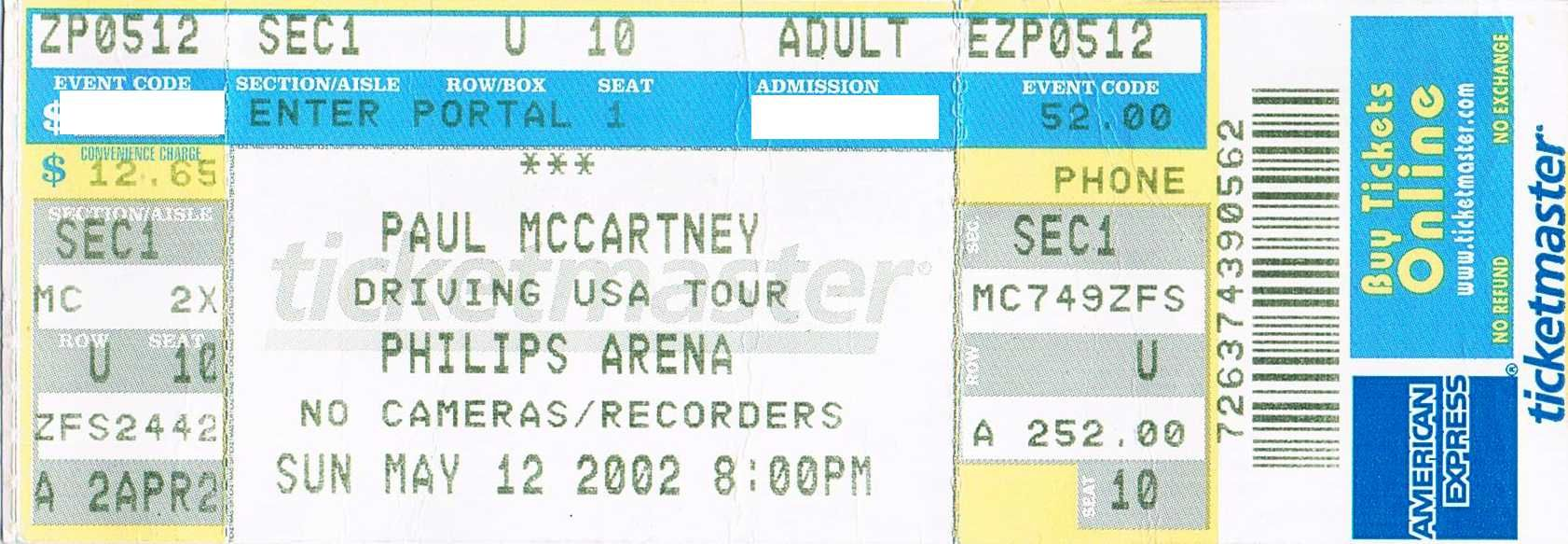 Paul mccartney philips arena atlanta may 2002 his - Paul mccartney madison square garden tickets ...