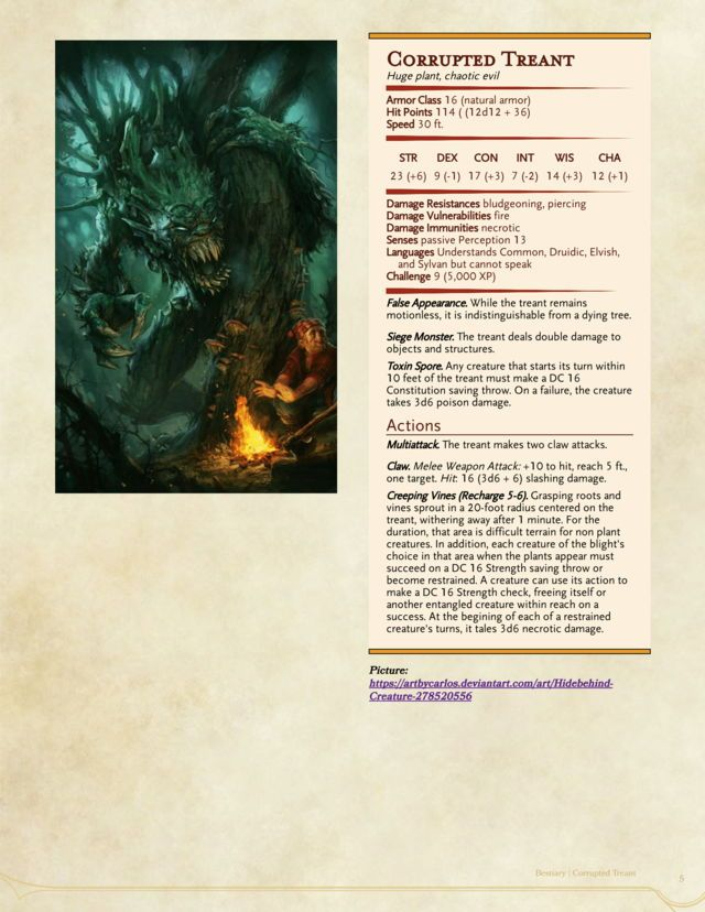 Corrupted Treant CR 9 | D&D Homebrew – 2019