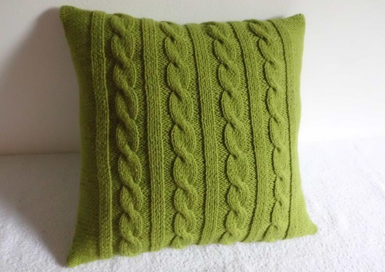 Enjoyable Decorative Chartreuse Knit Throw Pillow Green Spring Pillow Machost Co Dining Chair Design Ideas Machostcouk