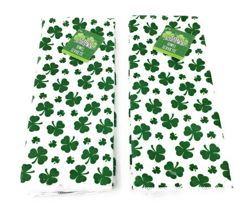 Kitchen Towels Shamrock Design Set Of Two St Patrick S Day Green