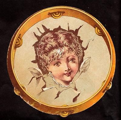 C 1890 Childs Face in Tambourine Victorian Greeting Card   eBay