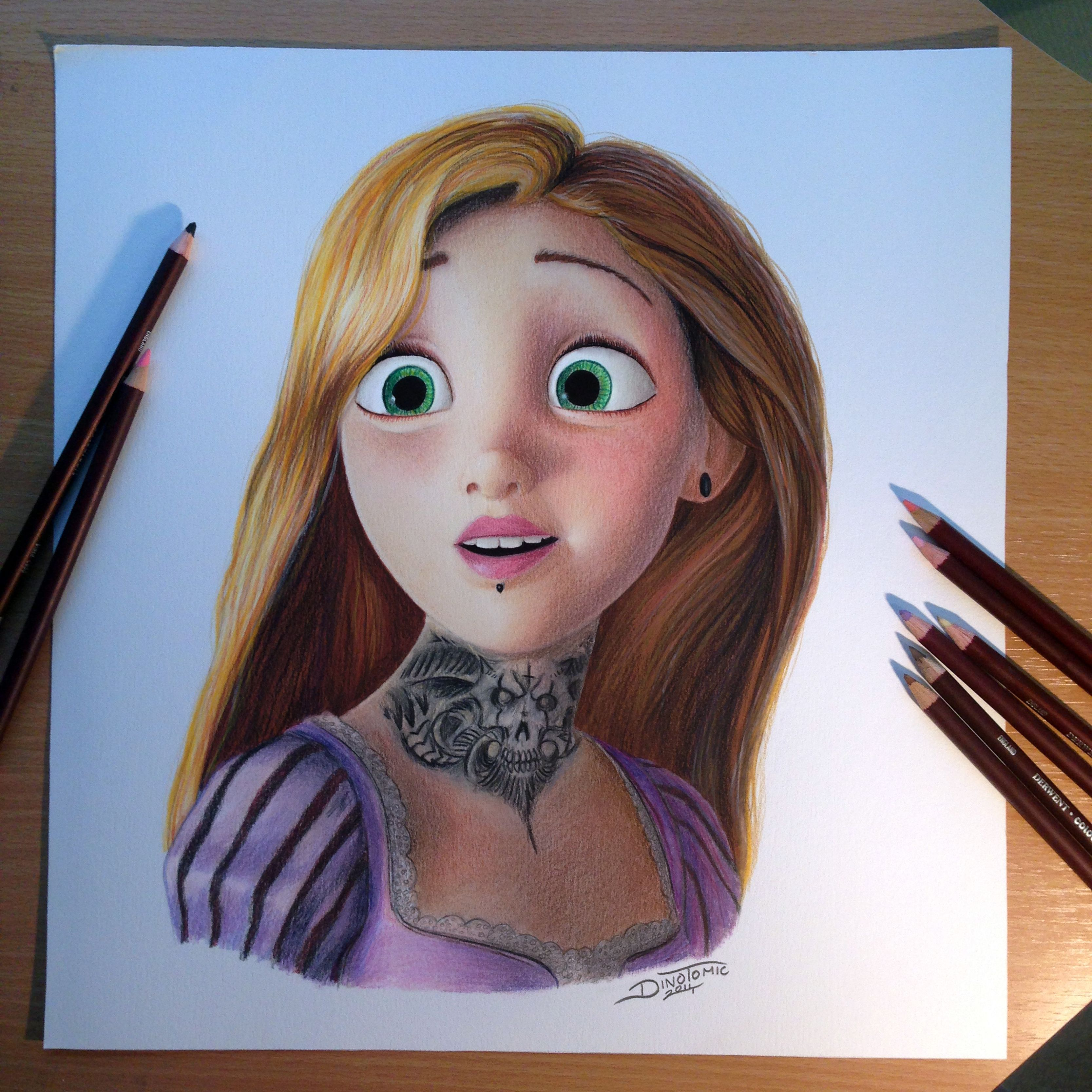 How to draw with colored pencils - Pencil Rapunzel Color Pencil Drawing
