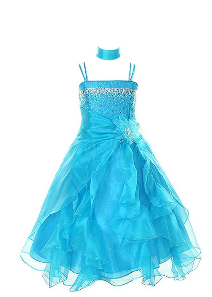 a1696f607e2 Amazon.com  Cinderella Couture Girls Cascading Crystal Organza Rhinestone  Party Dress  Special Occasion Dresses  Clothing