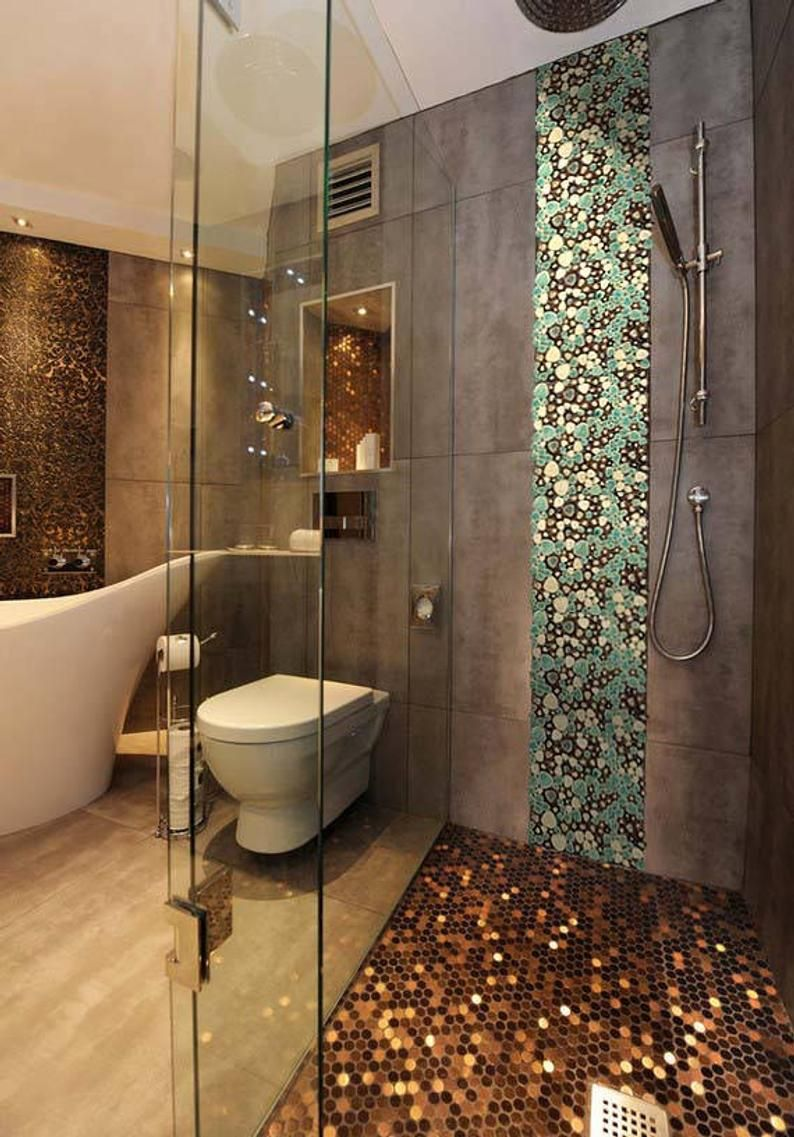 Porcelain Pebble Tile In Blue Cream And, Bathroom With Pebble Tiles