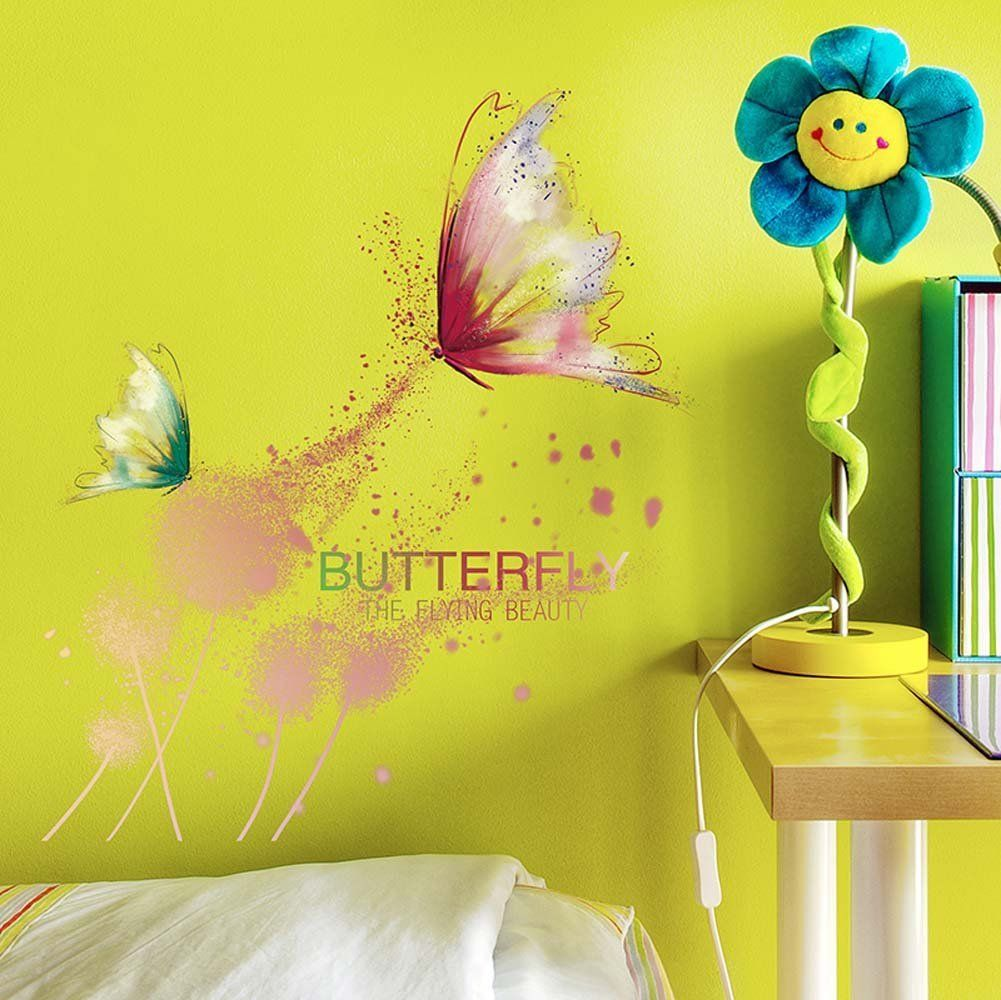 Butterfly flower Wall Stickers for living room bedroom home decor ...