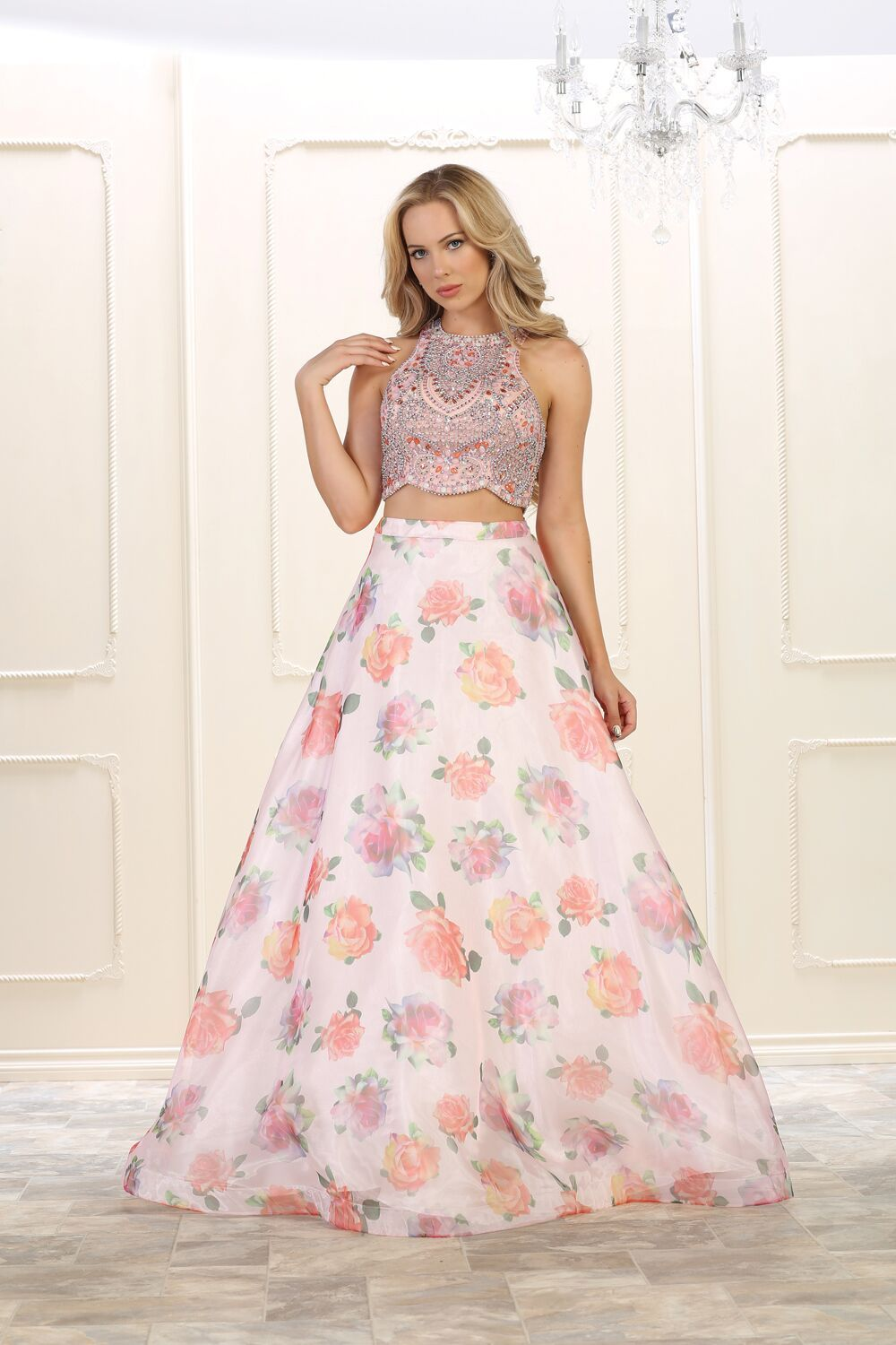 6096b7aeecd0 This stunning two piece set floor length dress features halter with floral  print skirt. Perfect for for prom, homecoming, evening party or any special  ...
