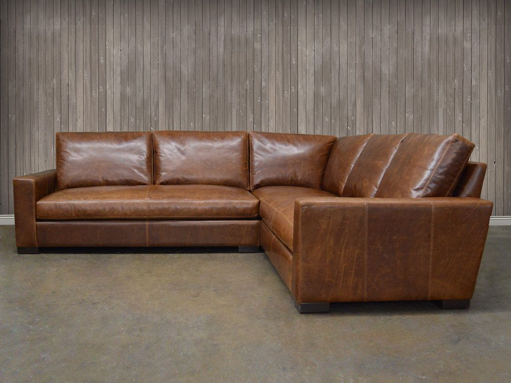 Our Braxton Mini L Leather Sectional Is Available In Italian Brompton And Berkshire Made America Using A Hardwood Frame Feather Down