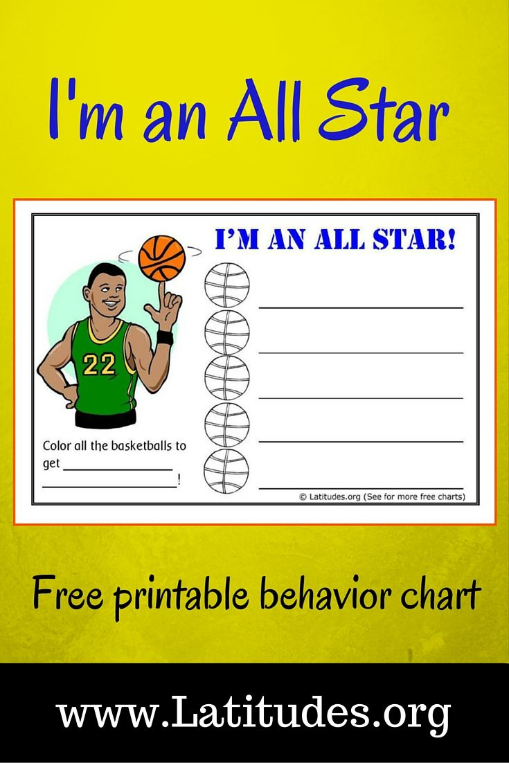 Free Behavior Chart Basketball All Star  Star Behavior Charts