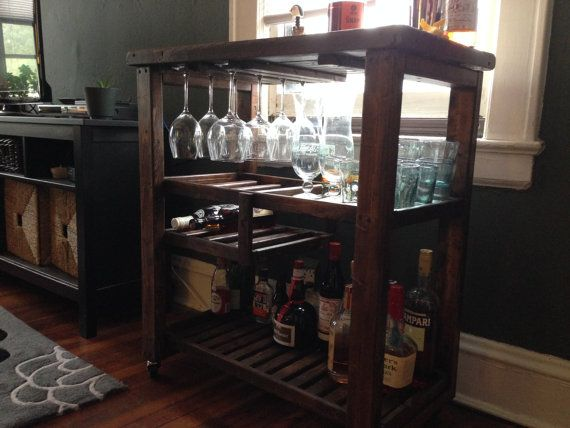 Handcrafted Bar cart made from reclaimed wood. Rustic Modern Furniture. Salvaged  wood is from Baltimore, Maryland. Eco Recycle Green Full Sized Cart Hanging  ...