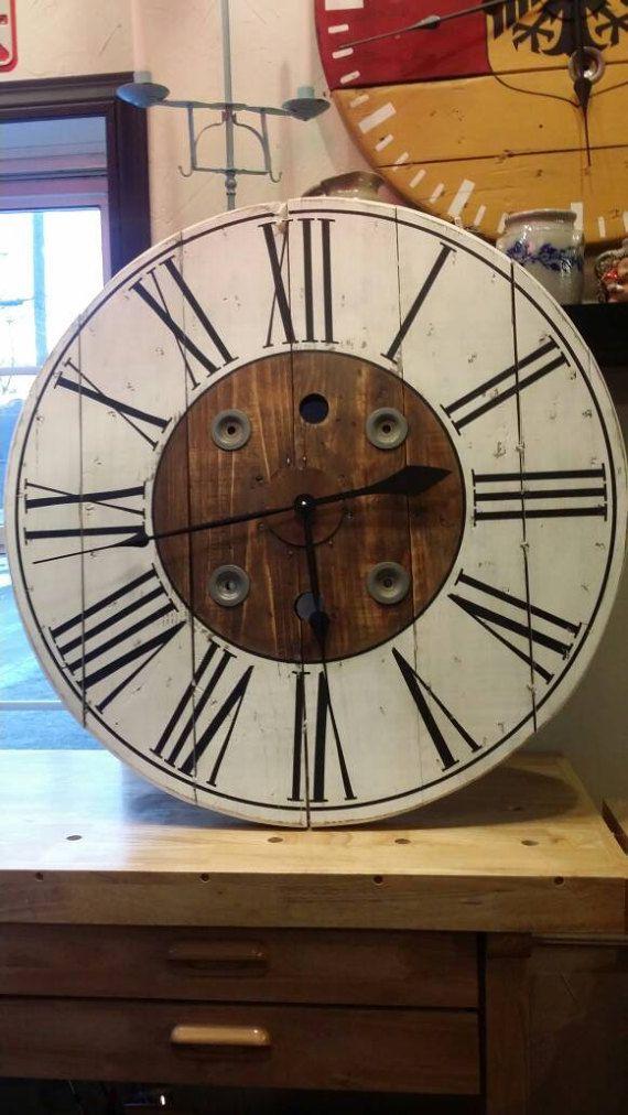 32 inch Farmhouse Wire Spool Clock/ Wall Decor / Gift / Shabby Chic ...