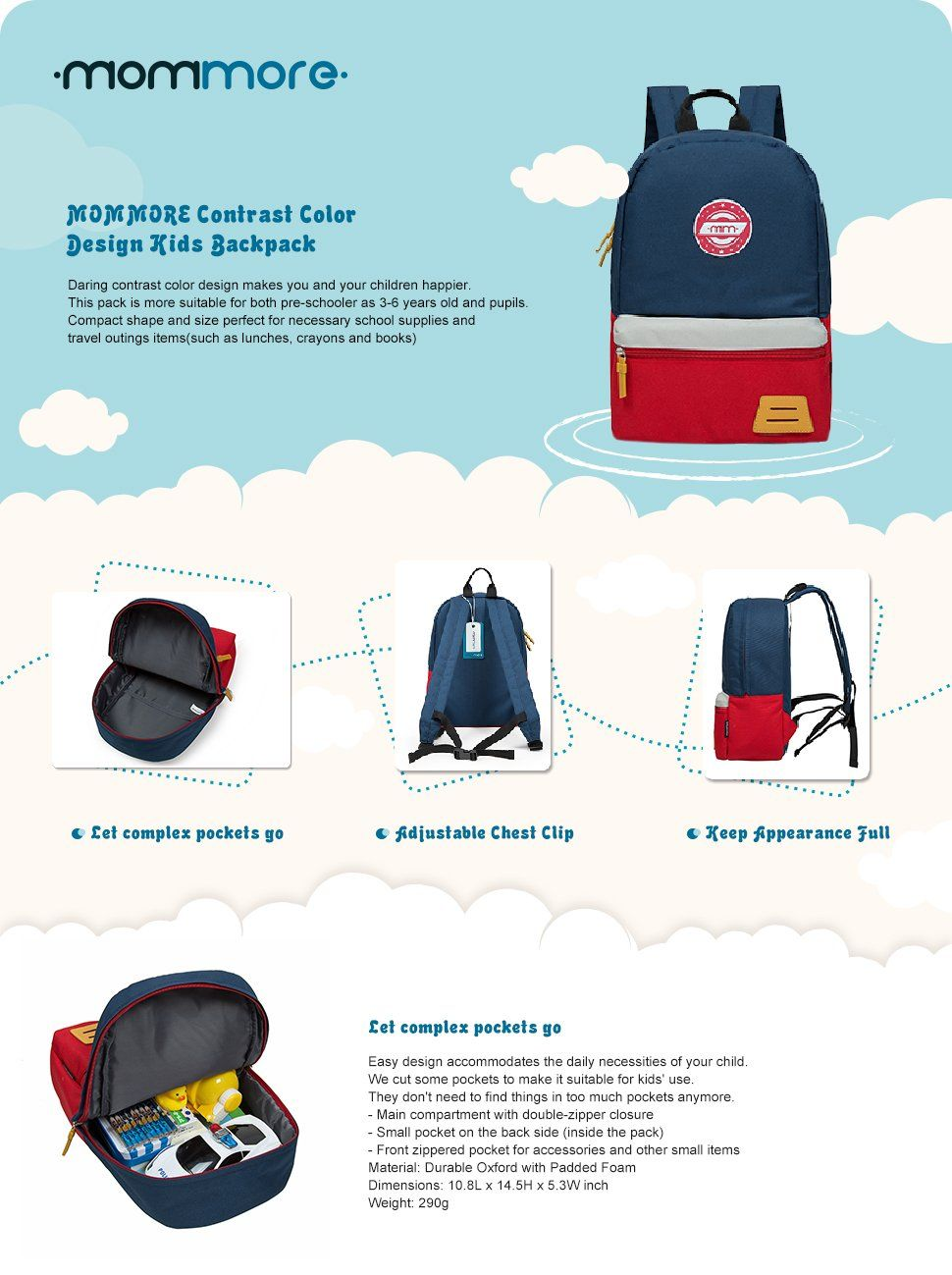 4aef8f68ac441c Amazon.com | MOMMORE Kids Backpack for Toddler Kindergarten School with Chest  Clip Hiking Bag 3-6 Years Old (Yellow and Blue) | Kids' Backpacks