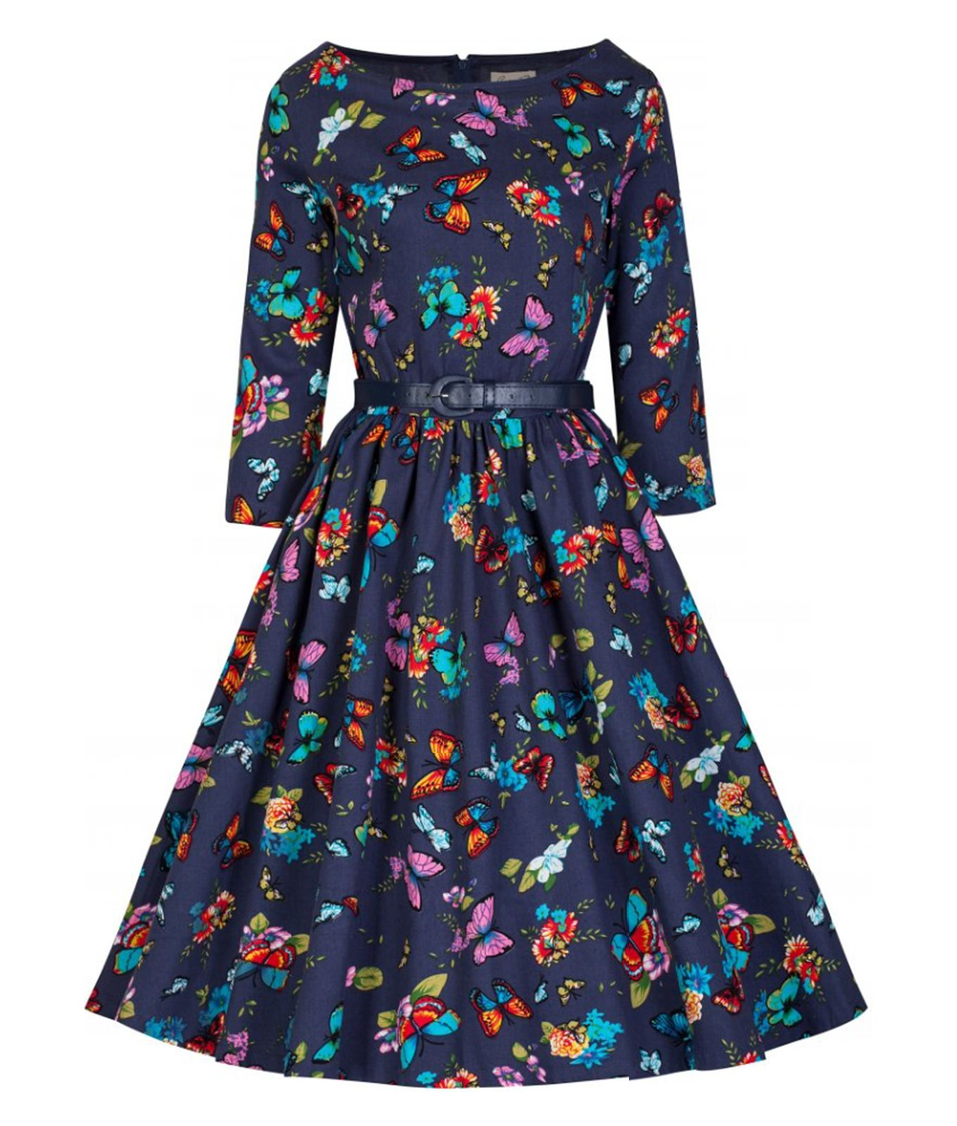 2c4b69f23772 Beautiful 50's vintage style dress made from heavy stretch cotton fabric  with pretty butterfly & floral fabric design. Flattering 3/4 length sleeves.