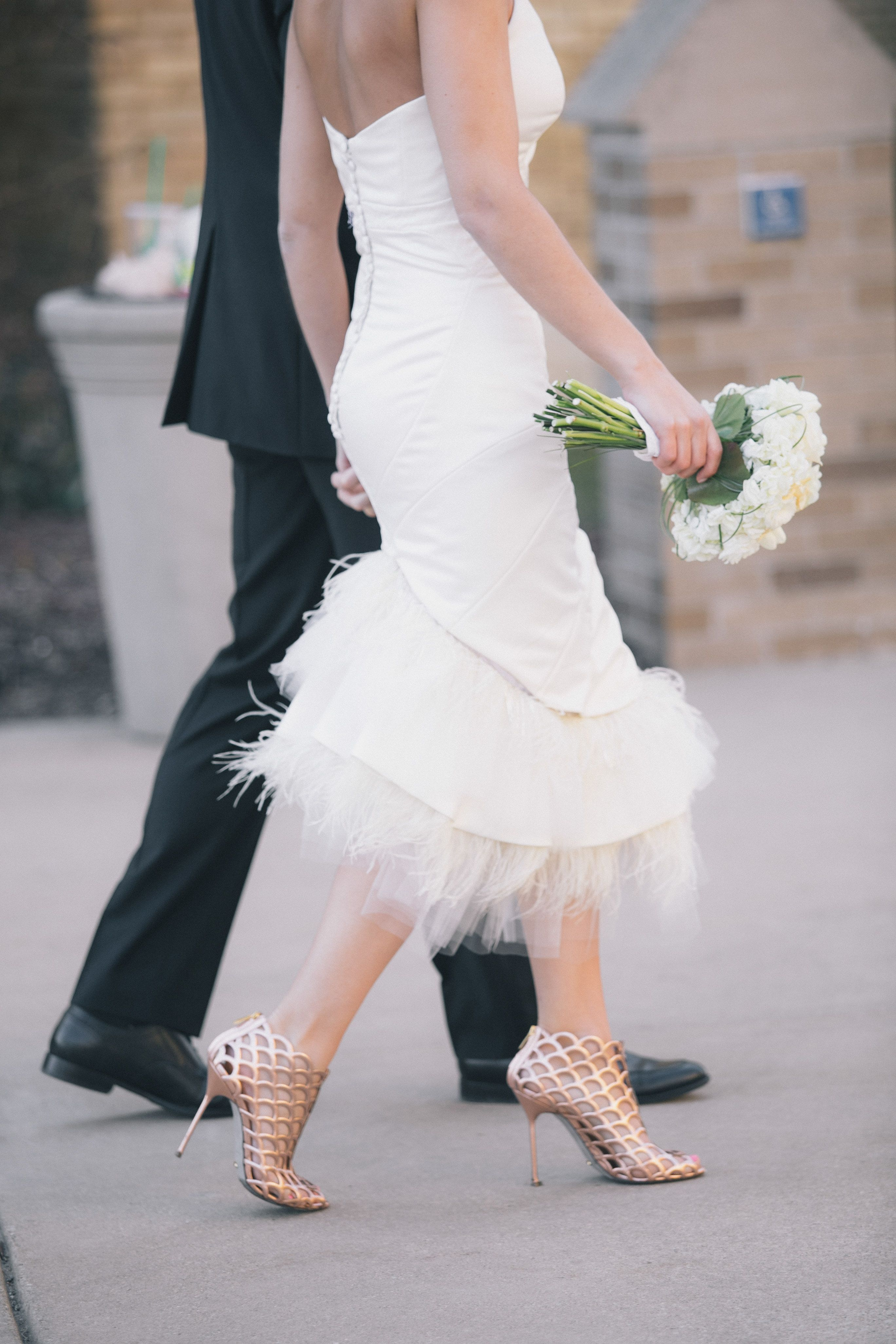 Fabulous short wedding dress and shoes university of notre dame