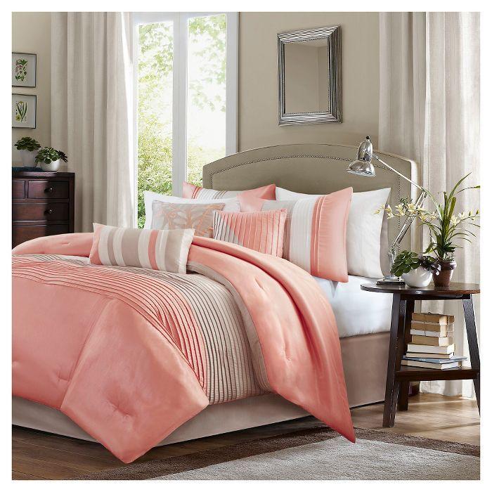 Salem Pleated Colorblock Comforter Set Queen Coral 7pc Comforter Sets Modern Bedroom Queen Comforter Sets