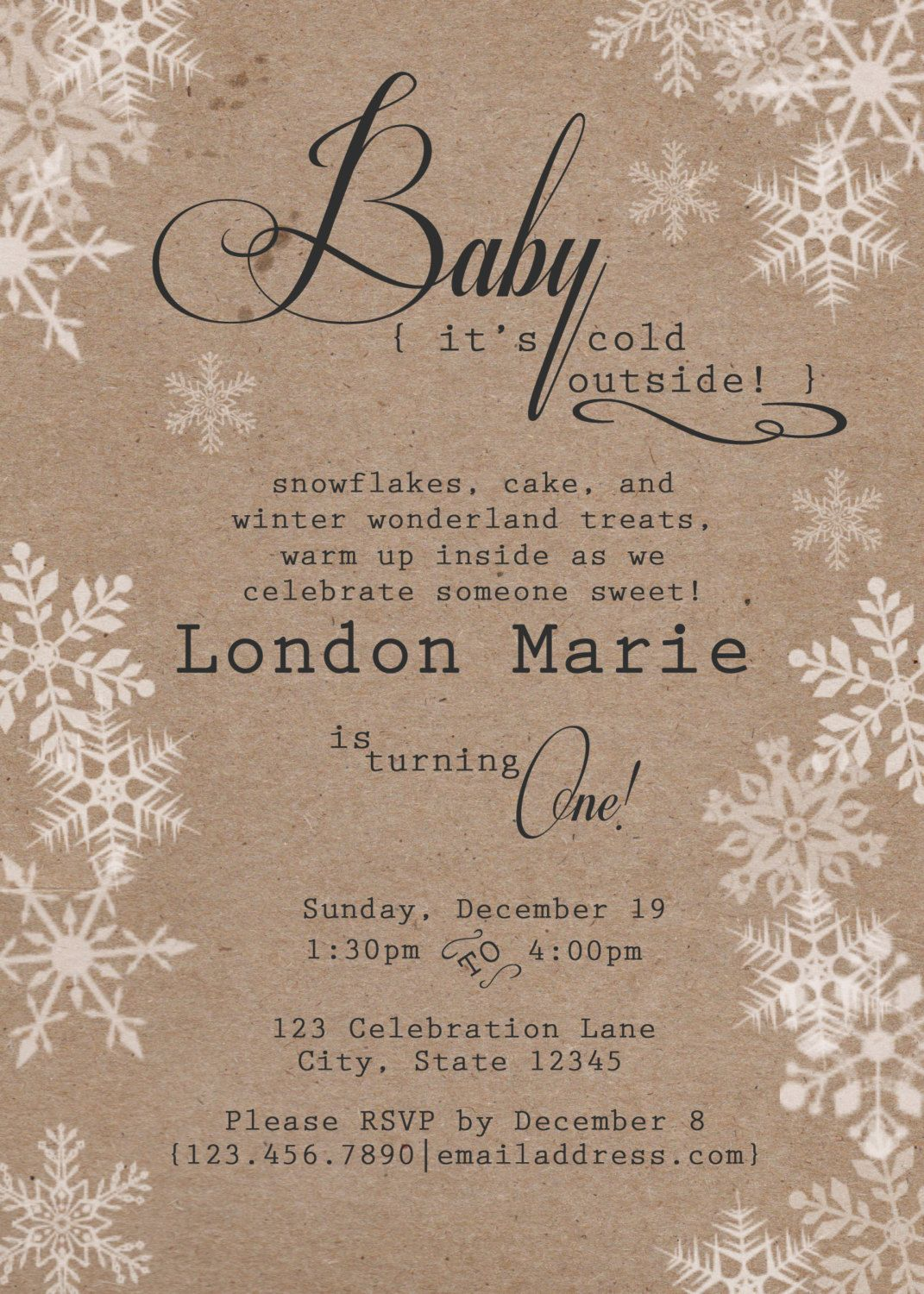 rustic winter birthday invitation winter onederland our little