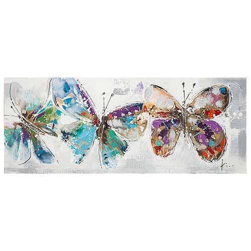 Quadro Pintura 3 Butterflies Coloridas Fullway - 70x180 cm