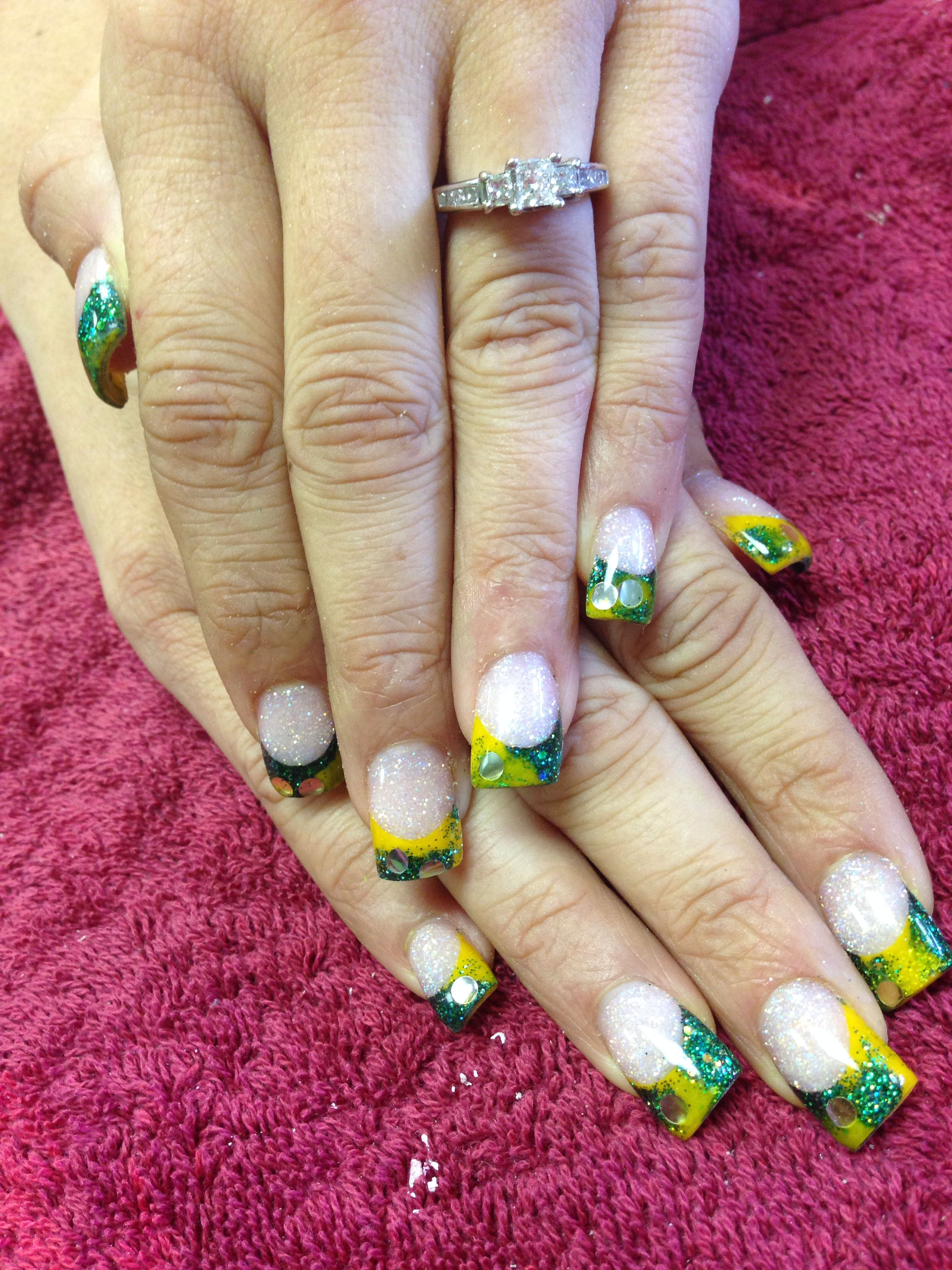 Green Bay Packers Acrylic Nails Acrylic Nails Nails Cute Nails