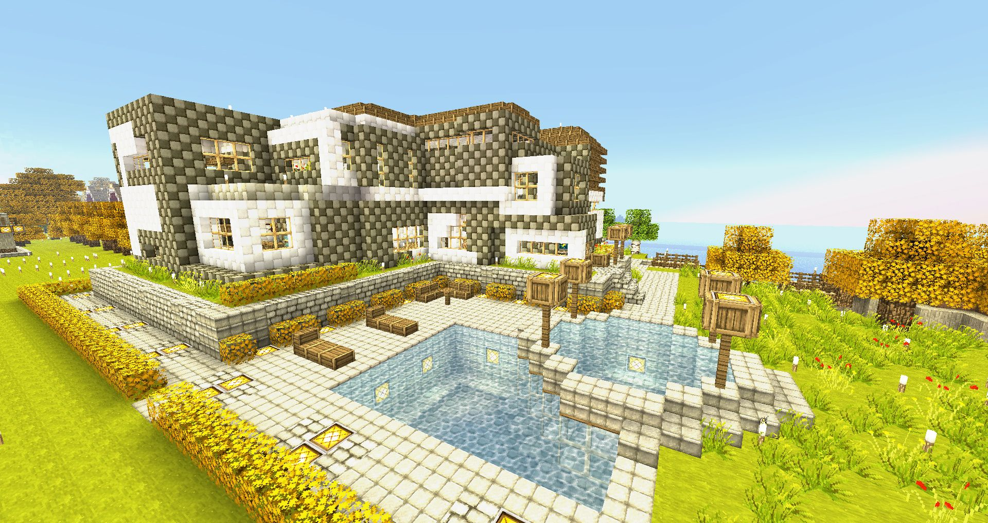 Minecraft wallpapers modern house by for Modern house minecraft pe