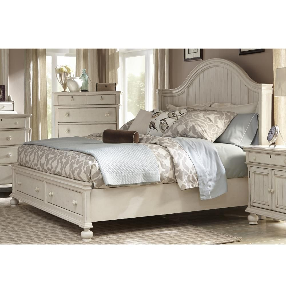 American Woodcrafters Newport Antique White Birch King Storage Panel Bed 3710 66pbs The Home Depot