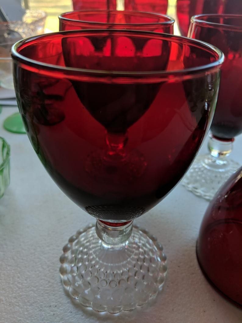 Ruby Red Water Goblets With Clear Stems Red Wine Glasses Etsy In 2020 Red Wine Glasses Water Goblets Wine Glasses