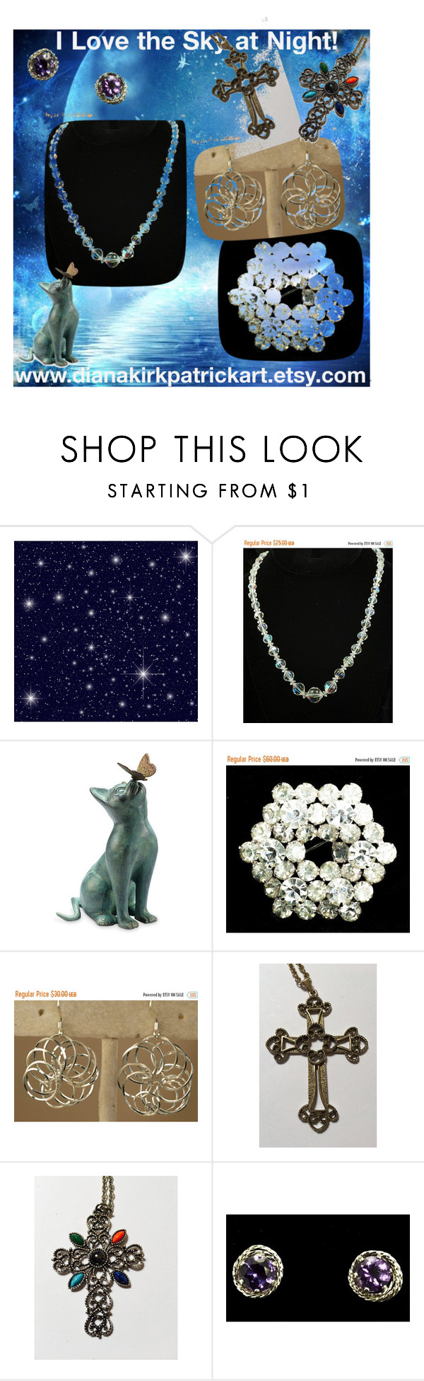 """""""I Love the Sky at Night!"""" by diana-32 on Polyvore featuring Sarah Coventry, Avon and vintage"""
