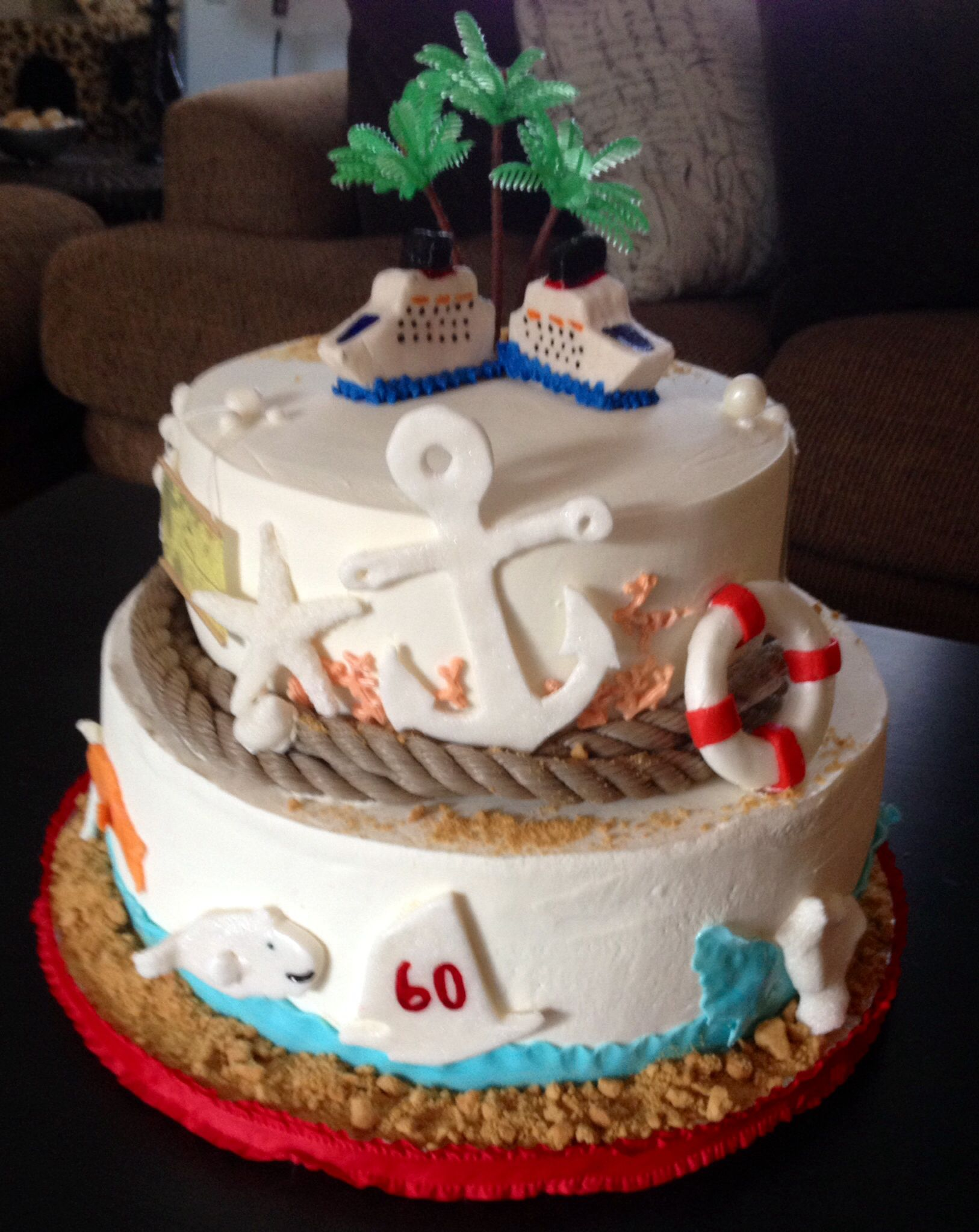 Cruise Ship Themed Happy 60th Birthday Cake Sweet Blessings Custom